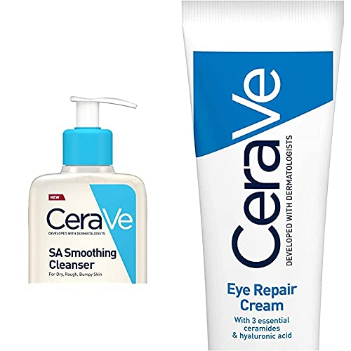 CeraVe SA Smoothing Cleanser   236ml/8oz   Face and Body Wash with Salicylic Acid & Eye Repair Cream   14 ml/0.5 oz   Eye Cream for Dark Circles & Puffiness