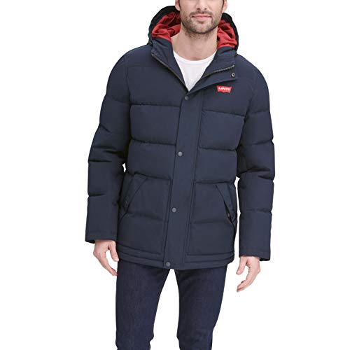 Levi's Men's Arctic Cloth Mid-Length Quilted Puffer City Parka Jacket, Navy, Large