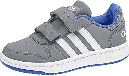 adidas Unisex-Kinder Hoops 2.0 CMF Basketballschuhe, Grau (Grey/Ftwwht/Blue Grey/Ftwwht/Blue), 31.5 EU