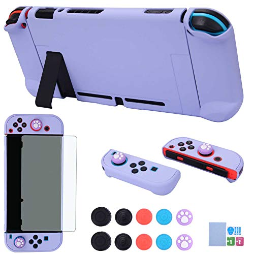 Dockable Case for Nintendo Switch - COMCOOL 3 in 1 Protective Cover Case for Nintendo Switch and Joy-Con Controller with Screen Protector and Thumb Grips - Purple