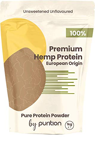 Natural 100% Vegan Hemp Protein Powder by Purition - Plant-Based Protein, European Origin, Gluten & Dairy Free, Rich in Omega 3 & 6 to Promote Energy - 1KG