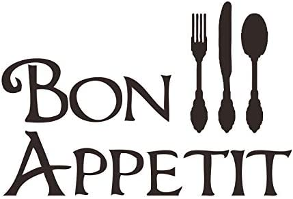 CustomVinylDecor Bon Appetit with Silverware Utensils Silhouette Vinyl Wall Decal Vinyl Sticker product image