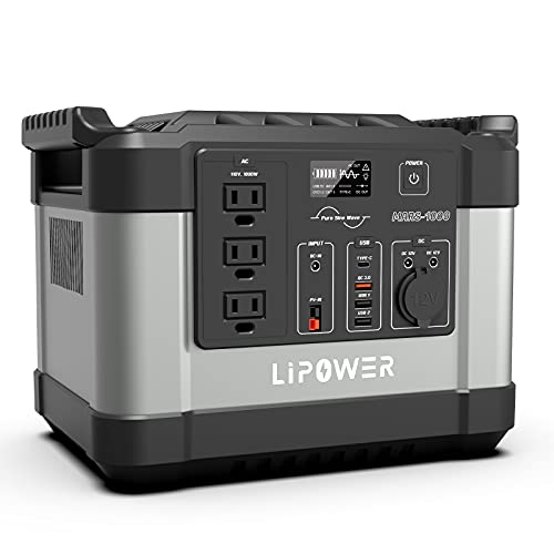 Portable Power Station 1000W (1100Wh/300000mAh) LIPOWER, Battery Emergency with 3 Pure Sine Wave AC Outlet Solar Generator Backup Power for Camping Outdoor RV/Van (Grey)