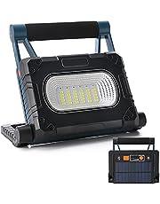 Led-werklamp, 30 W, draagbaar, op zonne-energie, oplaadbaar, USB-schijnwerper met 4 verlichtingsmodi, 360 graden draaibaar, led-spot voor bouwplaatsverlichting, autoreparatie, noodgevallen in de open lucht