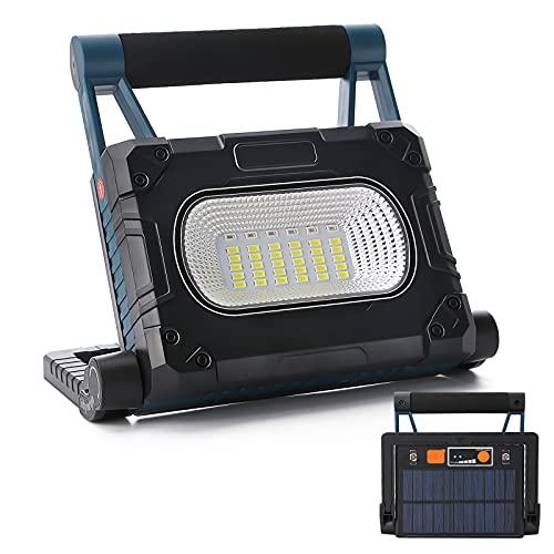 Luz de trabajo LED solar portátil de 30 W luz de trabajo recargable por USB con 4 modos de iluminación rotación de 360° foco LED para iluminación de obras reparación de coches emergencias al airelibre