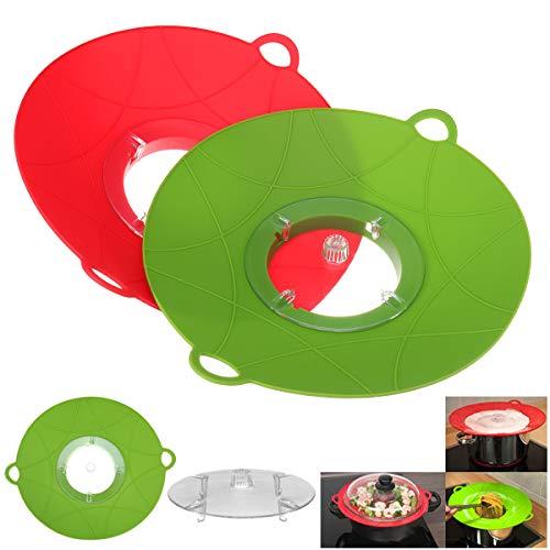 MJJEsports Siliconen Anti Overflow Kook Pot Deksel Spill Stopper Pan Cover Keuken Koken Gadgets Stofdichte Plug, Green, 1