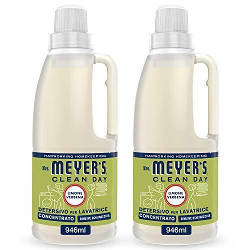 Mrs Meyer's Clean Day - Detergente concentrado para lavadora con aroma a limón y verbena, productos creados con aceites esenciales, 2 x 31 lavados