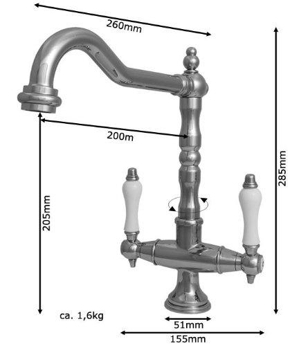 Sanlingo – Zweigriffmischer-Küchenarmatur im Retro-Style, schwenkbar, Chrom - 2