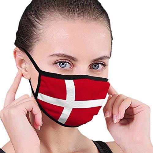 Unisex Mehrweg Gesichts,Staubschutz Gesichtsschutz,Komfortabel Schutzhülle,Atmungsaktive Nationalflagge Von Dänemark Country World Gesichtsschal,17.5x12cm