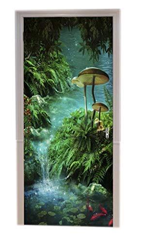 A.Monamour Verzaubert Teich Fantastisch Fluss Grün Tropische Pflanze Blätter Pilz Fisch Moos Regenwald Wilde Dschungel Natur Landschaft Drucken Vinyl Zimmer Tür Aufkleber Tapete Wand Wandbilder