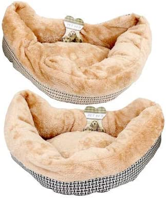 """Pet Bed Soft and Warm Comfortable Material Small to Medium Dogs and Cats Tan 18"""" Length"""