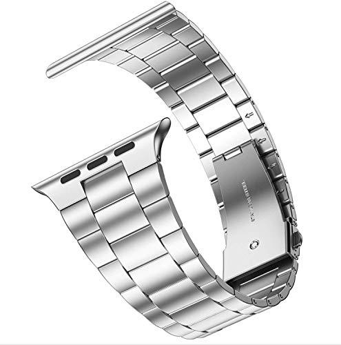 Fawyhr Banda de Reloj de la Correa de Metal de Lujo 44mm 40mm 42mm 38mm 316l Pulsera de Acero Inoxidable Iwatch Series 5 4 3 Se 6 Banda (Band Color : Silver, Band Width : 38mm or 40mm)