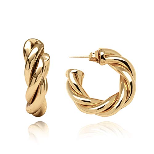 Triviso 18K Twisited Gold Plated Hoop Earrings For Women - High Polished Lightweight Hoops For Girls Fashion - Thick 1 Inch Chunky Dangle Hoops - Classic Yellow Gold Plated Women Jewelry