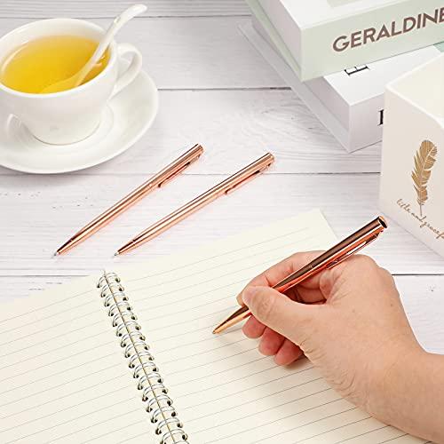 12 Pieces Slim Metallic Retractable Ballpoint Pens Lightweight Black Ink Metal Pens Rose Gold Ballpoint Slim Pens Medium Point 1.0 mm Pens for Business Office School Supplies Photo #3