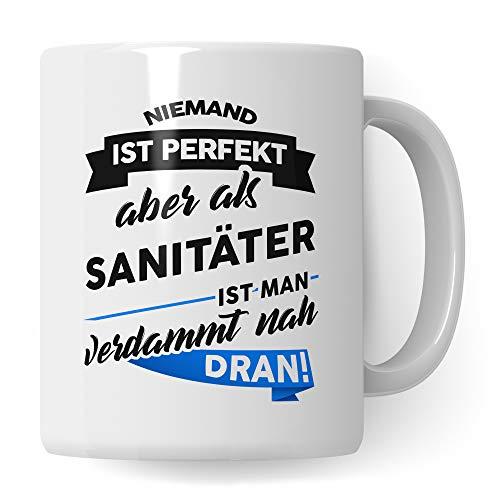 Tasse Sanitäter Geschenk - Rettungssanitäter Krankenwagen Kaffeetasse - Spruch Rettungshelfer Becher - Geschenkidee Rettungsdienst (Weiß/Weiß)