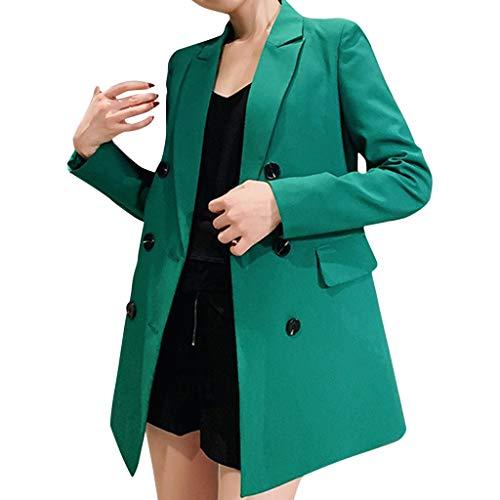 MINIKIMI Tailleur Donna Eleganti da Cerimonia Casual Sexy Scollato Bottoni Cappotto Donna Autunno Neoprene Cappottino Giacca Outwear (Verde, XL)
