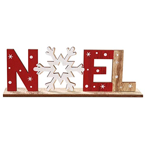 Amosfun Christmas Decoration Noel Wood Sign Christmas Holiday Snowflake Wood Plaque Sign Decorative Table Top Sign Plaque Xmas Party Decoration, for Friends