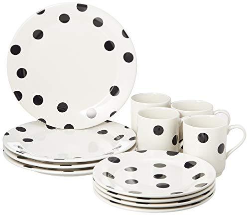 Kate Spade Deco Dot - Juego de vajilla (12 piezas, 35 kg), diseño de lunares, color blanco