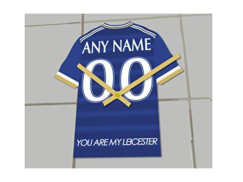 MyShirt123,Orologio a forma di maglia da calcio, Con squadre della Premier League, Personalizzabile, plastica, Leicester City FC Football Club, 175 MM X 150 MM X 10 MM