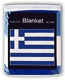 Ant Enterprises Greek Flag Fleece Blanket 5 ft x 4.2 ft. Flag of Greece Travel Throw Cover