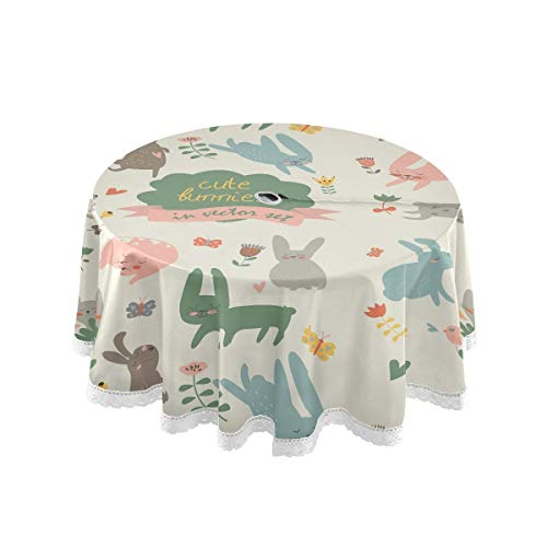 Rabbit Easter Outdoor Table Cloth, 60 Inch Round Tablecloth with Umbrella Hole and Zipper, Lace Trimmed Table Cover for Outside Patio Picnic, BBQ, Camping, Machine Washable (2010015)