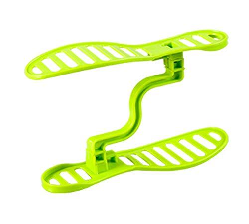 LTGABA 1 par de Espacio Guardar diseño de plástico Hogar Muebles Zapato Almacenamiento Estante Organizador Guardián Unisex Zapato Estante (Color : Green)