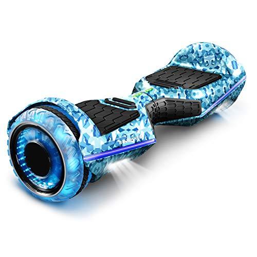 """6.5"""" Premium Hoverboard Bluewheel   Marca de calidad alemana   Neumáticos LED Infinity & App   Modo de seguridad para niños   Altavoces Bluetooth   Patín eléctrico con potente motor dual - HX360"""