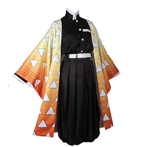 COSPARKY Anime'Demon Slayer: Kimetsu kein Yaiba'Cosplay Kostüm Halloween für Frauen Männer Outfit Full Set Täglich Casual Kimono Anzüge Hohe Qualität Agatsuma Zenitsu