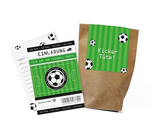 12x Fußball Einladungskarten + Partytüten - Set zum Kindergeburtstag / Fußballparty / Einladungen / Mitgebseltüten / Geschenktüten / Give-aways / Geburtstag / plastikfrei / klimaneutral / Set