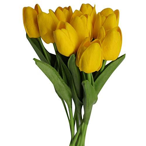 Dasorende 15 Piezas Belleza Prensa Flor Flor de TulipáN Ramo Artificial Flor Falsa Ramo de Novia DecoracióN Flor Boda Amarillo + Verde