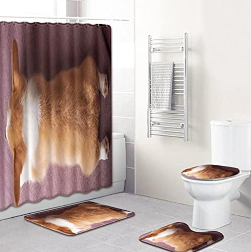 Niedlicher Gelber Welpen-Stoff-Duschvorhang-Satz, Spritzwassergeschützter Schimmelresistenter Polyester-Badvorhang 12 Haken Dekorativ, Badezimmerteppich, Toilettendeckelabdeckung, Teppich In U-Form