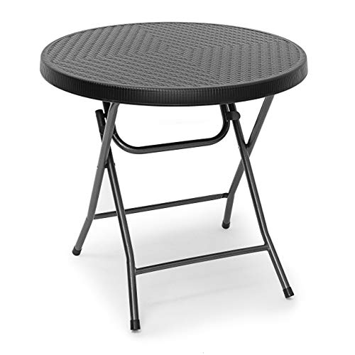 Relaxdays BASTIAN Round Patio Table Folding Table 74 x 80 x 80 cm, Folding Table for Backyard, Balcony or Porch with Metal Frame, Rattan Look Side Table or Camping Table, Black