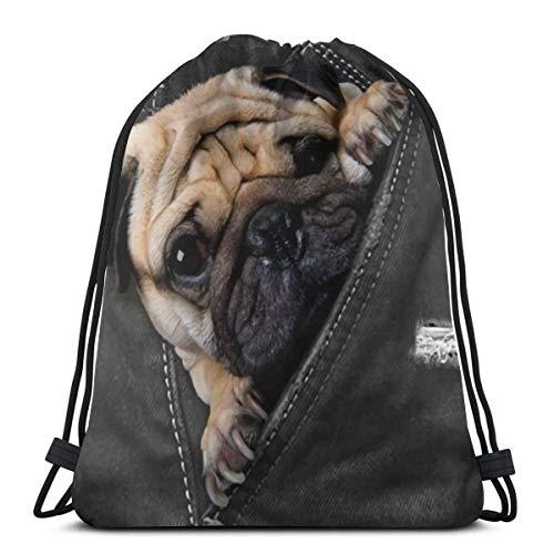 Lmtt Cool Black Wolf Unisex Mochila con cordón Bolsa Deporte Gimnasio Mochila de viaje Pug Dog