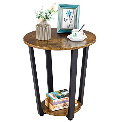 Yaheetech Table dAppoint Bout de Canapé en Bois Industriel Rond à 2 Niveaux Guéridon Style Rétro Meuble de Salon Chambre Marron
