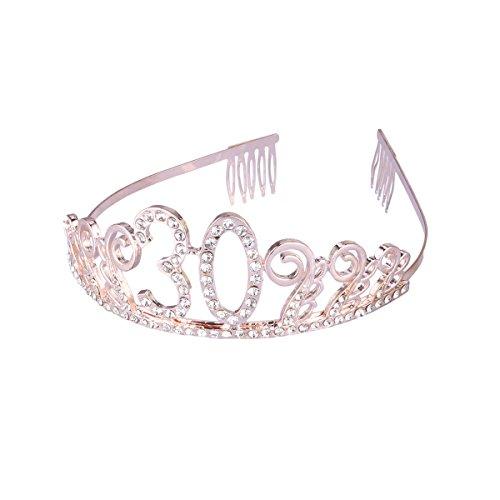 Beaupretty 30 cumpleaños Tiara Corona Rhinestone Princesa C