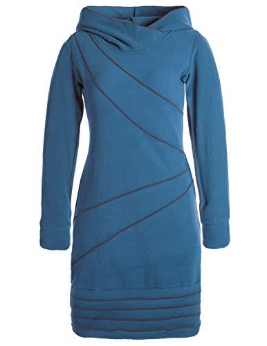 Vishes - Alternative Bekleidung - Langärmliges Patchwork Hoodie Eco Fleecekleid mit Daumenlöchern türkis 36-38