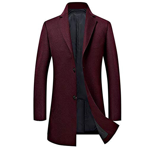 Mens Long Double Breasted Trench Coat Gentlemen Formal Wear Jacket Overcoat Outfits Pea Coats,Red,XXL