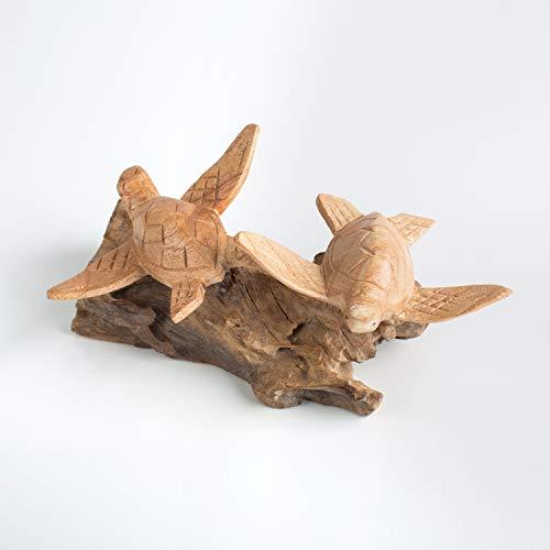 Deko aus Holz Pärchen Liebesfigur Teakholz Figur aus Holz Schildkröten