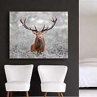 MKAN エルク動物北欧スタイルのキャンバス絵画書道ポスター印刷画像リビングルームの家の装飾リビングルームの装飾60X90Cm