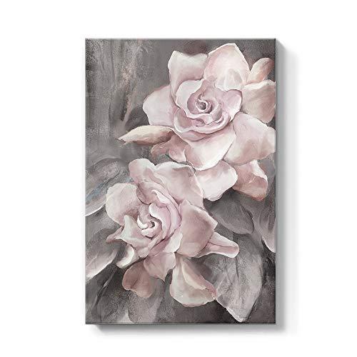 SUMGAR Lienzo Impreso Rosa y Gris con diseño de Flores, Cuadros Florales, Cuadros Modernos, Obras de Arte enmarcadas para recámara, baño, Sala de Estar, Comedor decoración de Pared 40 x 60 cm