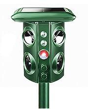 猫よけ 鳥よけ 動物撃退器 害獣撃退 赤外線自動感知 LED強力 フラッシュライト 4個超音波スピーカー/機械波 USB充電&ソーラー充電 野良 猫よけ カラス 鳥害対策 ネズミよけ 5つのモード選択可能 200㎡有効範囲 周波数自動変換 3-11m感知範囲調整可能 PSE認証済み 日本語取扱説明書付き (改良型強化版)