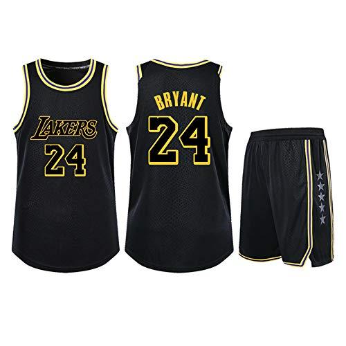 Adecuado para Kobe Bryant NO.24 Los Angeles Lakers fanáticos niños niñas Camisetas de Baloncesto Adolescentes Adultos Ropa Deportiva Camisa Chaleco Top Pantalones Cortos de Dos Piezas