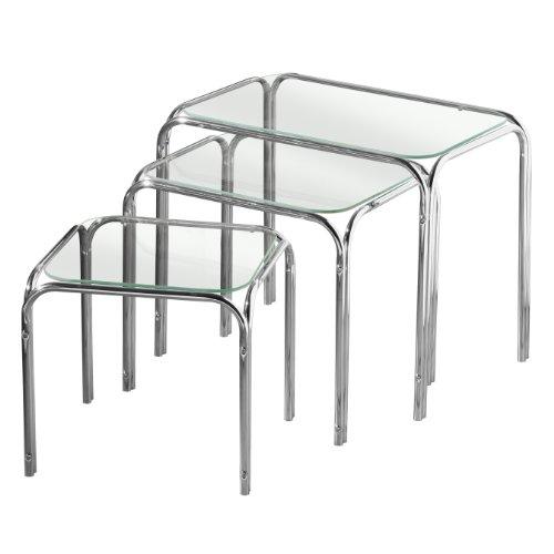 Premier Houseware salontafel 3-delig Set 2401618 transparant