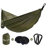 Glymnis Hamaca Ultraligera para Camping y Viaje de Nylon 300kg de Capacidad de Carga Ranspirable y Secado Rápido 275x140cm Kit de Hamaca de Tela 210T Ejercito Verde