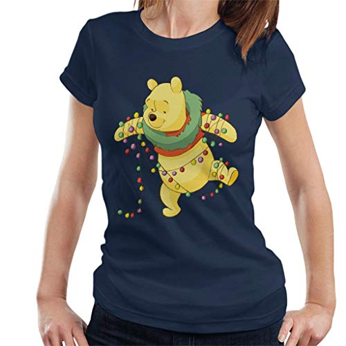 Disney Christmas Winnie The Pooh Tangled in Festive Lights Women's T-Shirt Navy Blue