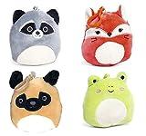 Squishmallows Clip-Ons - Llavero con clip en mapache, zorro, perro de pug, rana de peluche de juguete de animales