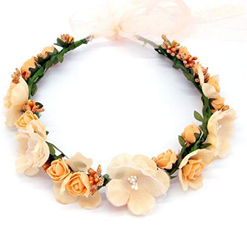 mezly Women Wedding Rose Artificial Flower Garland Wreath Headband and Wedding Hair Wreath Hair Band Ornaments Beach Wrape Wreath Gift- Grapevine Wreath- Faux Olive Tree-Orange