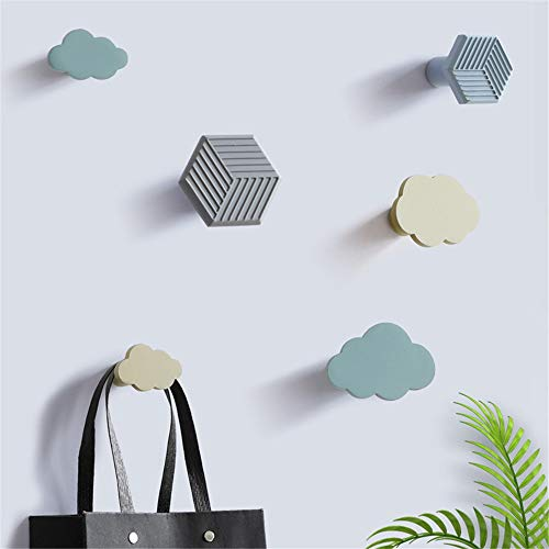 QiHaoHeji Perchero de pared para colgar abrigos, ganchos de pared, ganchos para colgar toallas, ganchos para colgar sombreros, baño, organizador de llaves (color : nubes, tamaño: tamaño libre)