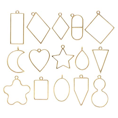 rongweiwang 15pcs Pendant Press Frame Geometric pendant hollow Star Shape Open Back Bezel Necklace Jewelry DIY Accessory, Light Gold