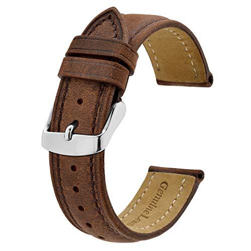 BISONSTRAP Correa de Reloj 20mm, Correa Piel de Cuero Vintage, Marrón Oscuro